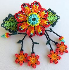 Mexican Huichol Beaded Red and Turquoise Flower Hair by Aramara