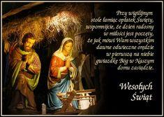 Spotkajmy się przy stole, Podzielmy się sercami, Z tymi, którzy są teraz I co byli z nami. Bo Bóg rozdaje miłość, Wszystkim, bez wyjątku, Zesłaną na ziemię w małym Dzieciątku. Christmas Wishes, Christmas And New Year, Christmas Cards, Merry Christmas, Decorating With Christmas Lights, Lets Celebrate, Holidays And Events, Motto, Life Quotes