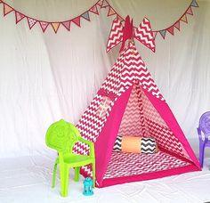 Play Tents, Kids Tents, Teepee Kids, Teepees, Indoor Tent For Kids, Indoor Tents, Grey Chevron, Pink Grey, House Tent