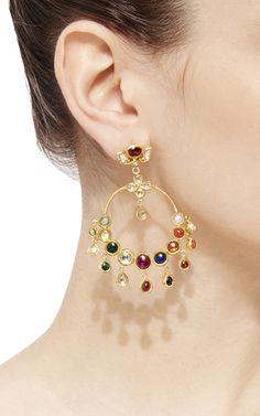 Raj Navratna Chandelier Earrings by Sanjay Kasliwal Bridal Jewelry, Gold Jewelry, Fine Jewelry, Jewellery, Jewelry Box, Moon Earrings, Chandelier Earrings, Silver Chandelier, Gold Earrings Designs