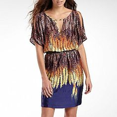 Belted Print Keyhole Dress - jcpenney  Dad's wedding?