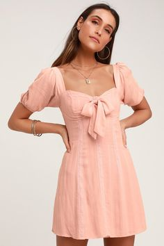 894a916a6f Madeline Blush Pink Puff Sleeve Mini Dress