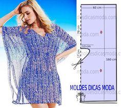 MOLDE TÚNICA AZUL -86 - Moldes Moda por Medida