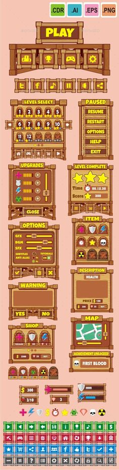 cartoon game gui pack 19 — Vector EPS #game #button • Available here → https://graphicriver.net/item/cartoon-game-gui-pack-19/10690290?ref=pxcr