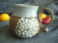 Ceramic Mug with Zinnia Flowers in Summer by clayshapergallery, $30.00