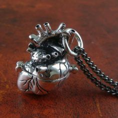 Antique Silver Anatomical Heart Locket, completely hand-carved and hand finished, the locket is cast in the finest white bronze and plated thickly in silver. #InkedShop #jewelry #LostApostle #anatomical #heart #silver #love