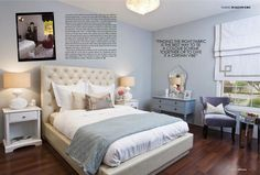 #bedroom, feminine bedroom, cool colors, blues, tufted headboard