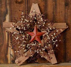 New Primitive Country Wood Rusty Barn Star Berry Wreath Burgundy Cream Berries | eBay