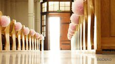 tiulowe, różowe pompony na ślub i wesele