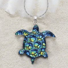 Luxembears baby sea turtle sculpted pendant necklace realistic dichroic glass turtle and sterling pendant 24in earrings necklaces rings bracelets mozeypictures Images
