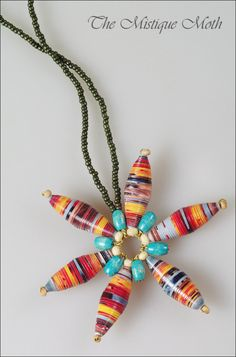 Paper beads necklace / Sirag cu medalion din margele de hartie