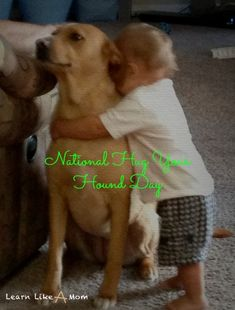 National Hug Your Hound Day is the second Sunday in September. Here's a list of places to think about taking your dog! -Learn Like A Mom! National Days In September, Hug Cartoon, Pug Cross, Hug Quotes, Ovarian Cancer Awareness, Like A Mom, Hug You, Your Dog