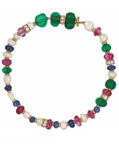 A Ruby, Sapphire, Emerald, Cultured Pearl, and Diamond Bracelet: Designed as a line of baroque cultured pearls and ruby, sapphire, and emerald beads, interspersed by polished gold and circular-cut diamond spacer links, mounted in 18K yellow gold, length 7 inches. Signed 'Bulgari'.