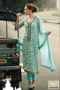 Pavitraa Turquoise Casual Salwar Suit