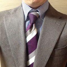 Brown Suit, Blue Gingham Shirt + Purple Tie