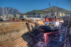 A docked ship is repaired at Cape Town's V&A Waterfront V&a Waterfront, Multiple Exposure, Dynamic Range, Cape Town, Hdr, Shots, Lighting, World, Photography