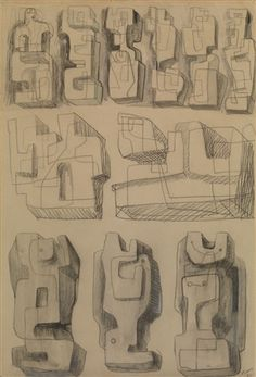 Square Forms - Eleven studies for sculptures by Henry MooreYou can find Henry moore and more on our website.Square Forms - Eleven studies for sculptures by Henry Moore Modern Sculpture, Abstract Sculpture, Sculpture Art, Metal Sculptures, Bronze Sculpture, Organic Sculpture, Geometric Sculpture, Henry Moore Reclining Figure, Henry Moore Drawings
