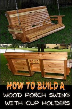 in your yard with a DIY wood porch swing with cup holders! Unwind in Your Yard with this DIY Porch Swing Bench with Cup Holders!Unwind in Your Yard with this DIY Porch Swing Bench with Cup Holders! Backyard Swings, Fire Pit Backyard, Porch Swings, Garden Swings, Backyard Seating, Backyard Projects, Outdoor Projects, Diy Projects, Pergola