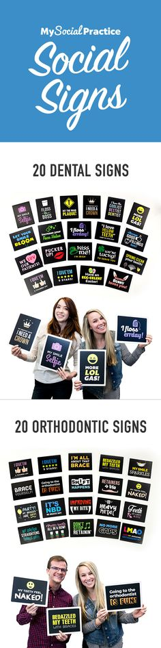 20 FREE SOCIAL SIGNS for your dental or orthodontic practice! Pay shipping and handling only!