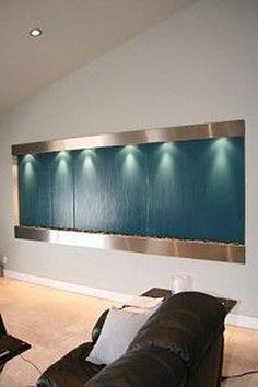 Modern Home Stainless Steel Wall Waterfall Fountain w/Mirror ...