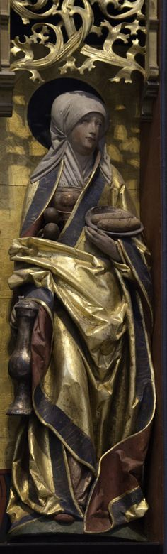 """Jesus loved Martha"" John 11:5  // Saint Martha / Santa Marta // Statue from a medieval retable in the west choir of St Michael's church, Hildesheim // Photo: Lawrence OP"