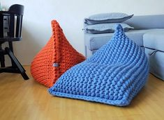 Black Bean Bags, Modern Bean Bags, Bean Bag Design, Diy Bean Bag, Crochet Pouf, Kids Bean Bags, Orange Bag, Poufs, Blue Wool