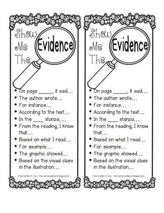 Show Me the Evidence strips: These have great evidence stems to help students cite specific evidence in their written responses/discussions.
