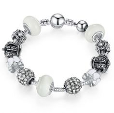 Silver Charm Bracelet with Royal Crown Charm & Crystal Ball White Beads. Available in 2 lengths, this bracelet features Royal Crown Charm & Crystal Ball Vintage Charm Bracelet, Silver Charm Bracelet, Silver Charms, Silver Bracelets, Bangle Bracelets, Bangles, 925 Silver, Strand Bracelet, Sterling Silver