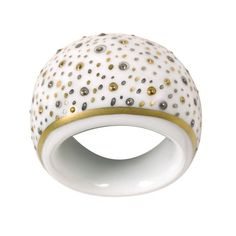 Gift for Her: Gold and Platinum Nugget Porcelain Ring #giftforher #gift #frenchporcelain #limogesporcelain #bijoux #porcelaine