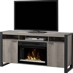 Dimplex Pierre Electric Fireplace TV Stand with Acrylic in Steeltown. 5118 BTU Maximum Heat Output. Heats Rooms up to 400 Square Feet. Automatically Adjusts Wattage & Fan Speed for Optimal Heating. Motion-Activated. Realistic LED Flames Create Illusion of Real Fire.