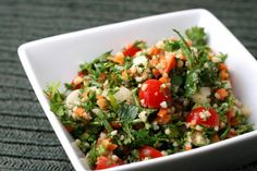 #Tabbouleh is a #Levantine #vegetarian dish traditionally made of tomatoes, finely chopped parsley, mint, bulgur and onion, and seasoned with olive oil, lemon juice, and salt. In Europe, this generally means a herb-flecked bulgar wheat #salad. #foodie #arabworld #cuisines #yummy