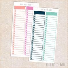 A set of 2 sidebar checklist stickers, perfect for the Erin Condren sidebar section! One sheet. 2 checklists per sheet. Matte finish.  Please