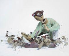 Porcelain figurines shattering.