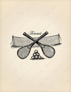 Vintage Victorian sport TENNIS racket ball & net - Printable Sporting Fabric Transfer - Instant Down Beach Tennis, Tennis Party, Sport Tennis, Tennis Match, Tennis Clubs, Tennis Players, Tennis Racket, Tennis Tournaments, Tennis Wallpaper