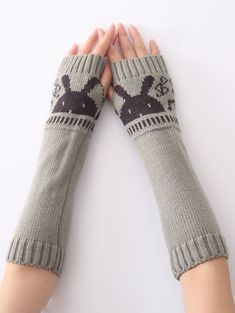 2016 Fashion Gloves Warm Autumn Winter Jacket Special Knitted Arm Sleeve Fingerless Gloves Soft Warm Mitten - www. Knitted Gloves, Fingerless Gloves, Arm Sleeve, Rabbit Head, Knitting Wool, Warm Autumn, Models, Trends, Arm Warmers