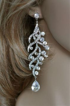OOOOooooo La la!!!  Maybe!!!!    Pearl-169 Dramatic Vintage Inspired Estate Crystal Rhinestone Chandelier Earrings, Wedding, Bridal. $30.00, via Etsy.