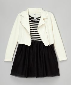 Look at this Beautees Ivory & Black Blazer Set on #zulily today!