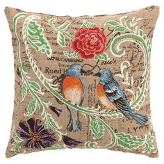 Showcasing an elaborate collage of embroidery and script, this hemp pillow is lovely on its own or as a garden-inspired vignette.  P...