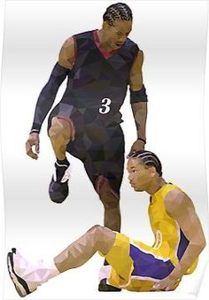 6a81ca39d86  Allen Iverson Steps Over Tyronn Lue Low Poly  Poster by RatTrapTees