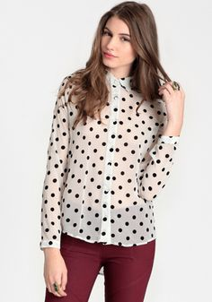 Polka dot blouse for under 40
