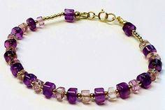 14K gold amethyst bracelet.natural amethyst gemstone by Emmalishop