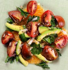 florida tangelo, avocado & heirloom tomato salad. OMG...this looks SO GOOD.