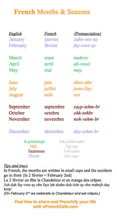 French of the Day:  the months and seasons
