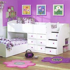 Cute low loft bunk bed.