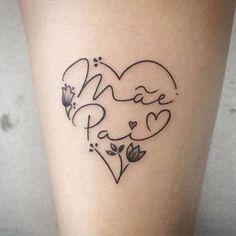 Resultado de imagem para tattoo mãe e pai Mum And Dad Tattoos, Baby Tattoos, Family Tattoos, Tattoos For Daughters, Little Tattoos, Body Art Tattoos, Small Tattoos, Girl Tattoos, Tattoos For Women