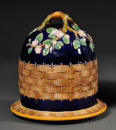 George Jones Majolica Cheese Dish, England, late century, cover molded with flowering cherry blossoms spreading from double-branch handle on a cobalt ground, above a band of molded basketweave repeated as a border on the rim of the dish. Glazes For Pottery, Ceramic Pottery, Ceramic Art, Cheese Dishes, Cheese Trays, Cheese Dome, English Decor, George Jones, Kitchen Collection