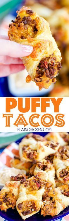 Puffy Tacos - my favorite way to eat tacos! Only 5 ingredients - hamburger, taco seasoning, diced tomatoes and green chiles, cheese and puff pastry. Ready to eat in minutes! Can make ahead of time and freeze for later. Great for tailgating and parties! Snacks Für Party, Appetizers For Party, Appetizer Recipes, Snack Recipes, Beef Appetizers, Appetizers Superbowl, Heavy Appetizers, Mexican Dishes, Mexican Food Recipes