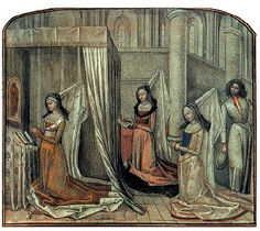 Duchess Margaret of York, the second wife of Charles the Bold and sister of King Edward IV of England, with her ladies in prayer. A young courtier looking interested. Miniature in a collection of moral and religious texts David Aubert, near the Master of Mary of Burgundy, Ghent, after 1467. Oxford, Bodleian Library, Ms.. Douce 365, fol. 115