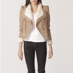 faux winter coat warm jacket /shoulder pad deer skin/ zip coat/ fur collarJet brown leather coat X018 / beige jacket /. $108.00, via Etsy.