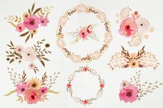 Watercolour Powder Flowers by Webvilla on @creativemarket